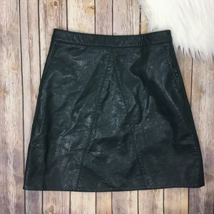 Zara A-Line Vegan Leather Skirt Green